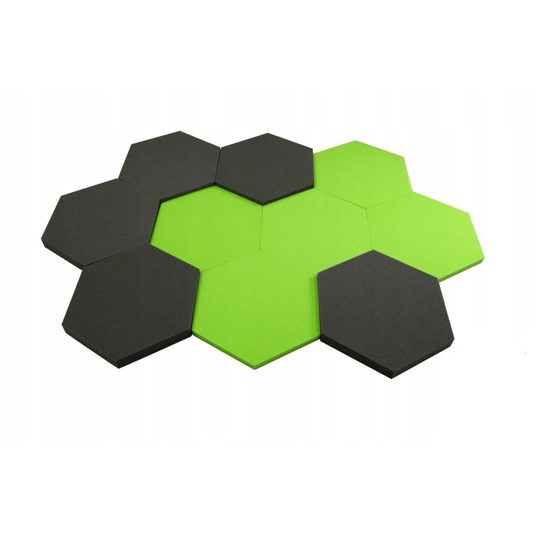 Akustický panel Hexagon zelená 50x50cmx3cm samozhášavá nehorľavá pena megamix