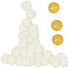 Bavlnené gule 30ks LED 6cm 6m krémové ozdoba stromček AA batérie