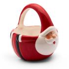 Dekoračný keramický vianočný košík v tvare mikuláša 16,4x14x15,5cm červená