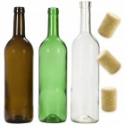 Fľaše na víno 15ks 3 farby skiel + zátky