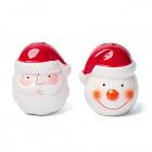 Keramická vianočná soľnička a korenička v tvare snehuliaka a mikuláša