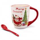 Keramický hrnček s vianočným motívom a lyžičkou Christmas 400 ml