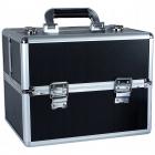Kozmetický kufrík rozkladací 32x25x25cm čierny strieborný