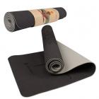 Podložka na cvičenie joga fitness 183x61cm 6mm čierna sivá