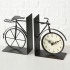 Stojan na knihy bicykel s hodinkami 15x11x6cm kovový