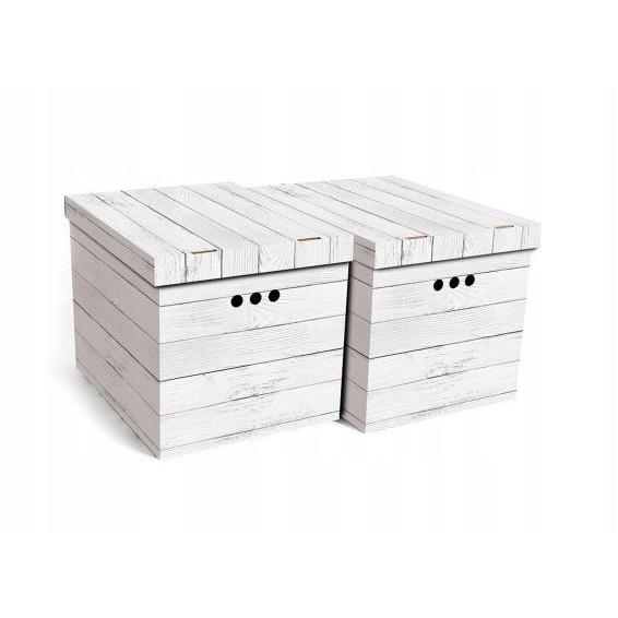 dekoratívna kartónová krabica 2ks vzor sivá doska XL megamix.sk