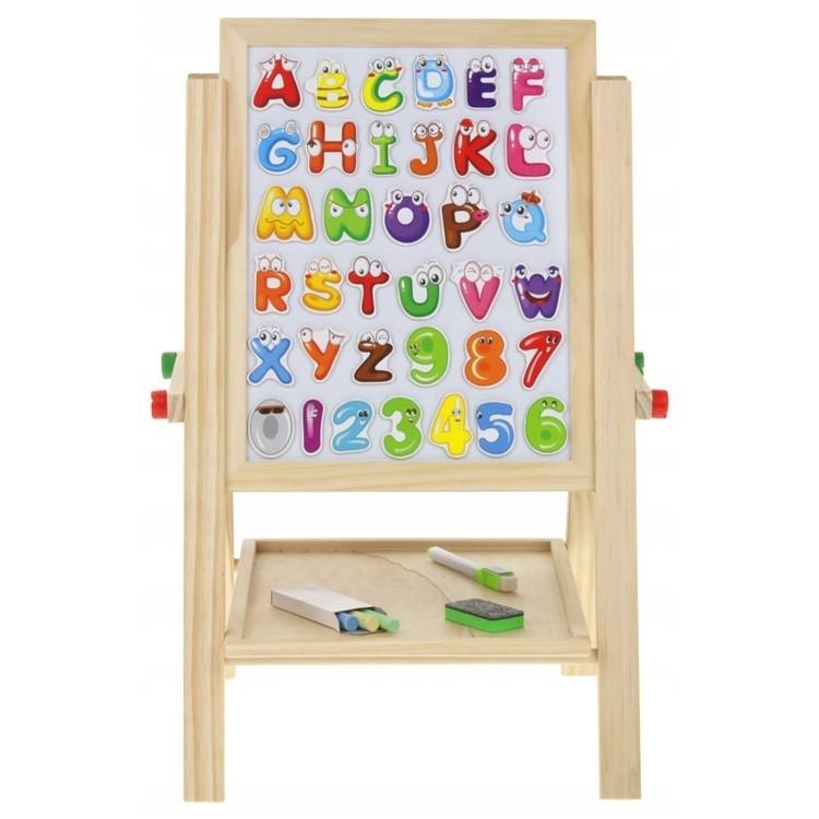 Drevená magnetická tabuľa pre deti stojan megamix.sk