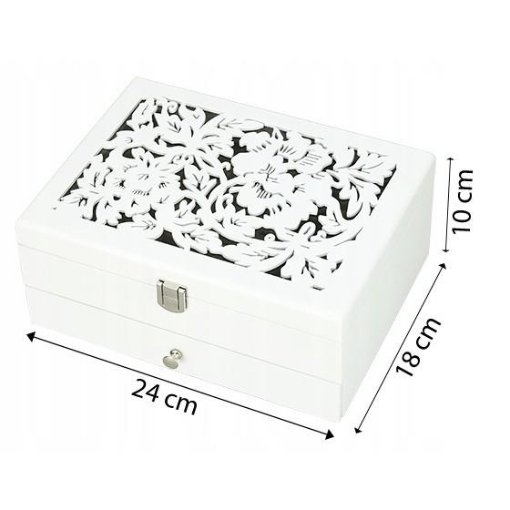 Drevená šperkovnica na bižutériu biela vzorovaná megamix.sk
