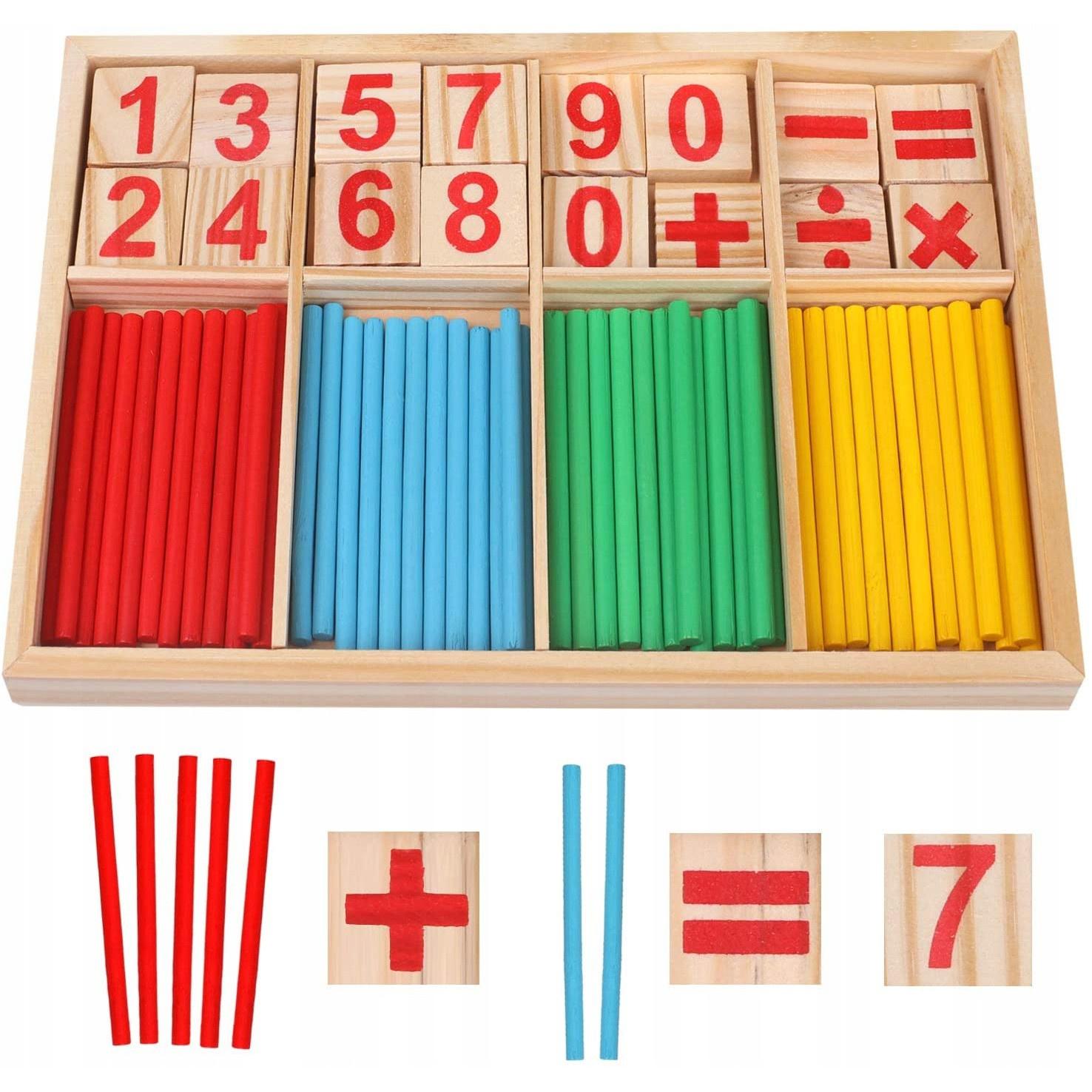 Drevené čísla, paličky na výučbu matematiky pre deti 23x15x1,7cm megamix.sk