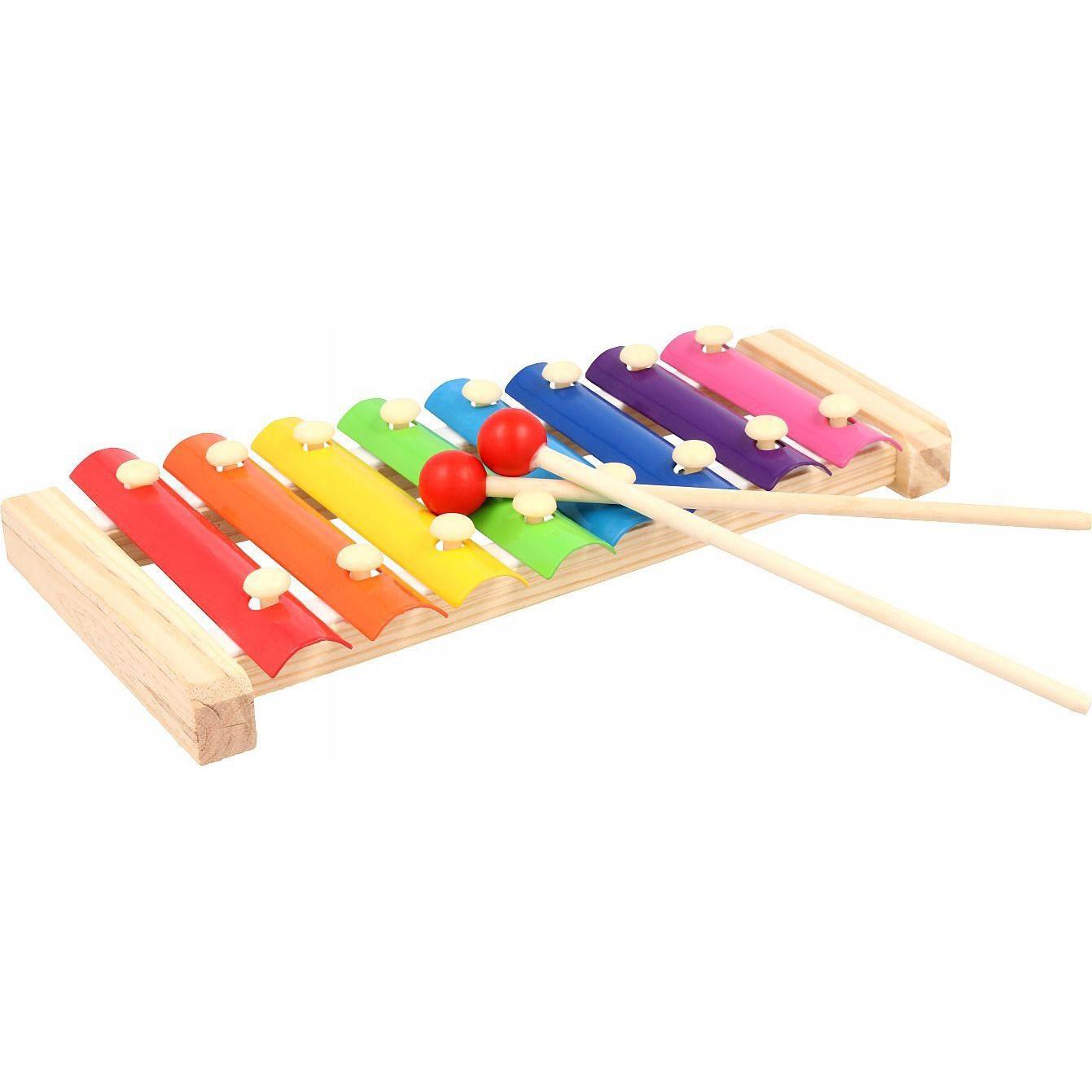 Drevený cimbal pre deti 8 tónov farebný s paličkami megamix.sk