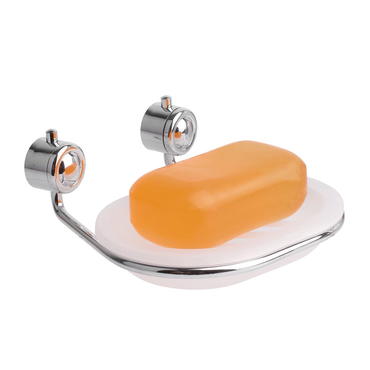Držiak na mydlo s odkvapkávačom 13,5 x 12,5 x 5 cm priehľadný megamix.sk