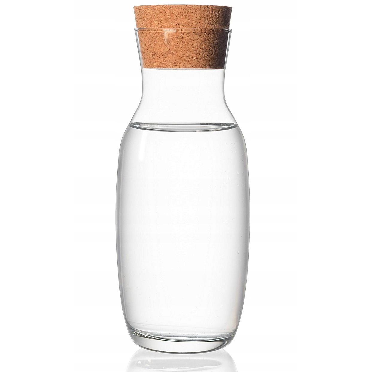 Karafa na vodu s prírodným korkom 1l čírá fľaša megamix.sk