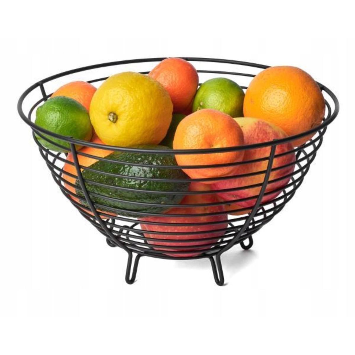 košík na ovocie čierny drôtený 28x16cm megamix.sk