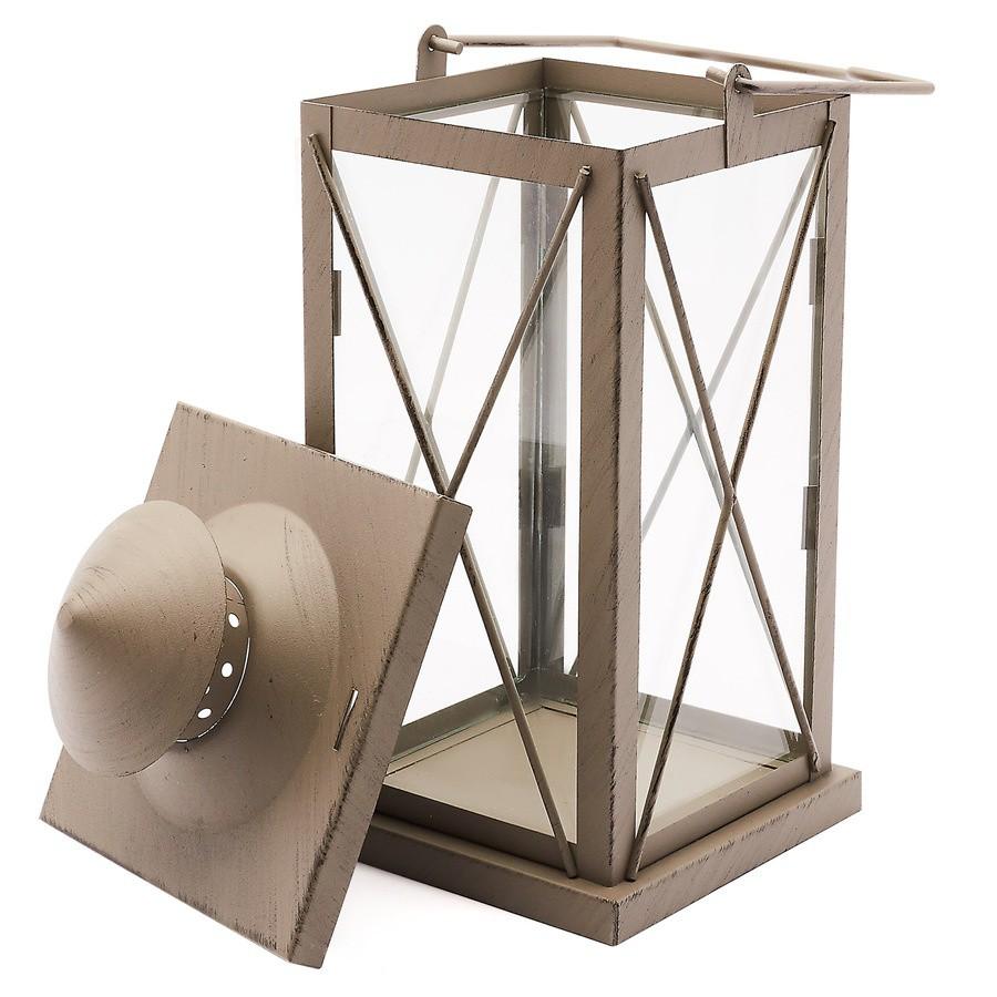 Kovový lampáš 18 x 18 x 40 cm antracitový megamix.sk