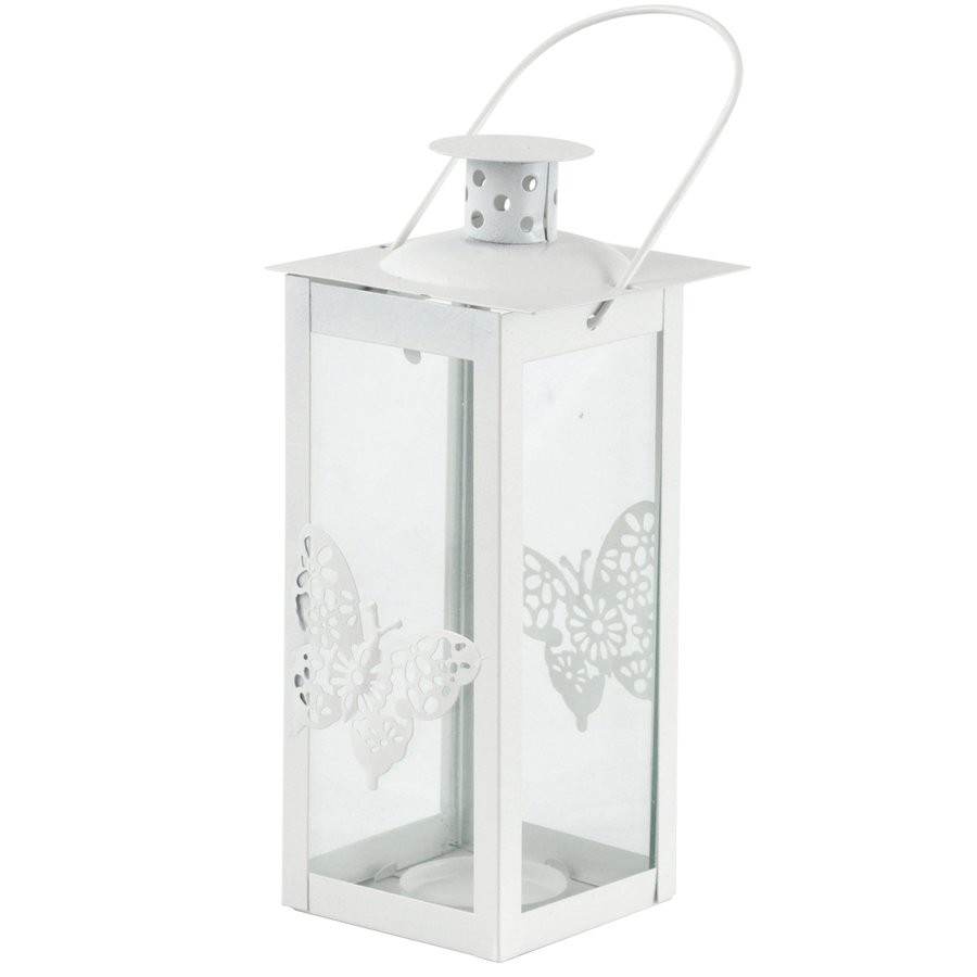 Kovový lampáš Butterfly 8,5 x 8,5 x 26 cm biely megamix.sk