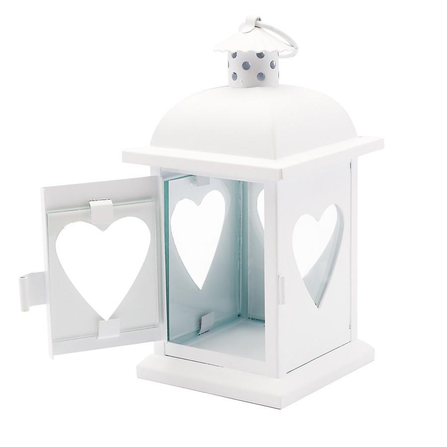 Kovový lampáš Heart 8,2 x 8,2 x 17 cm biely megamix.sk