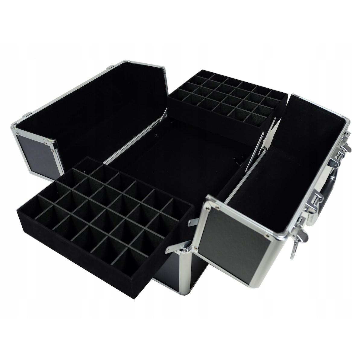 kozmetický kufrík rozkladací 32x25x25cm čierny strieborný megamix.sk