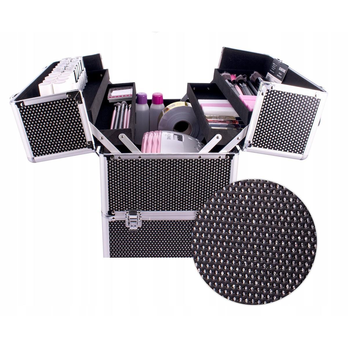 kozmetický kufrík rozkladací 34x25x42cm Makeup Box XL čierny megamix.sk