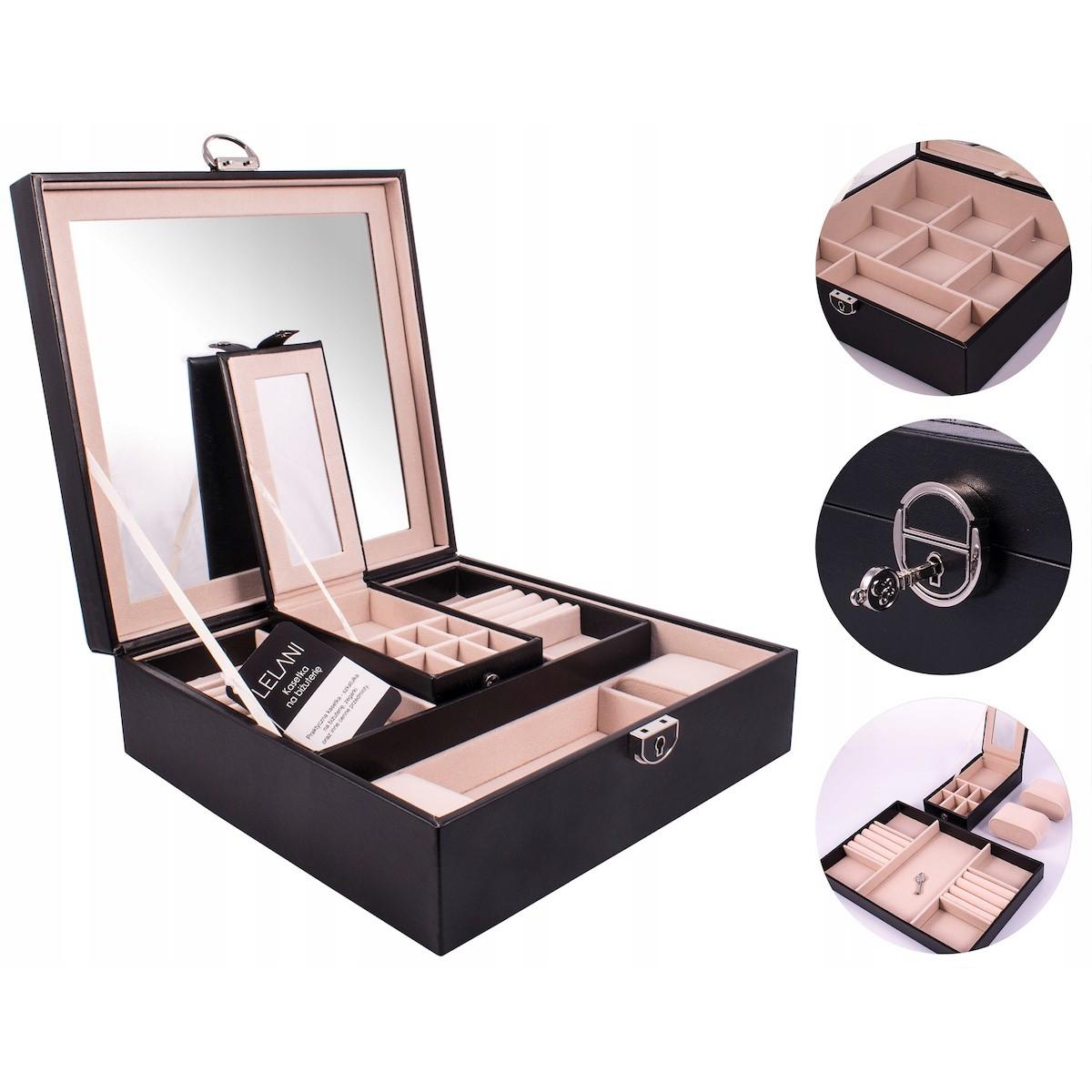 Krabička na bižutériu L s priehradkami zrkadlom na zámok megamix.sk