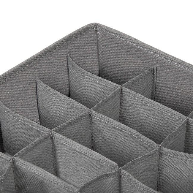 ľanový organizér do zásuvky s 24 priehradkami sivej farby megamix.sk