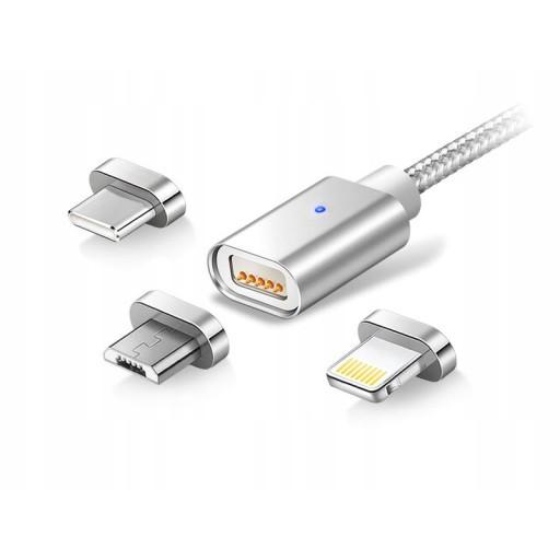 Magnetický kábel 3v1 nabíjačka iPhone Micro USB C