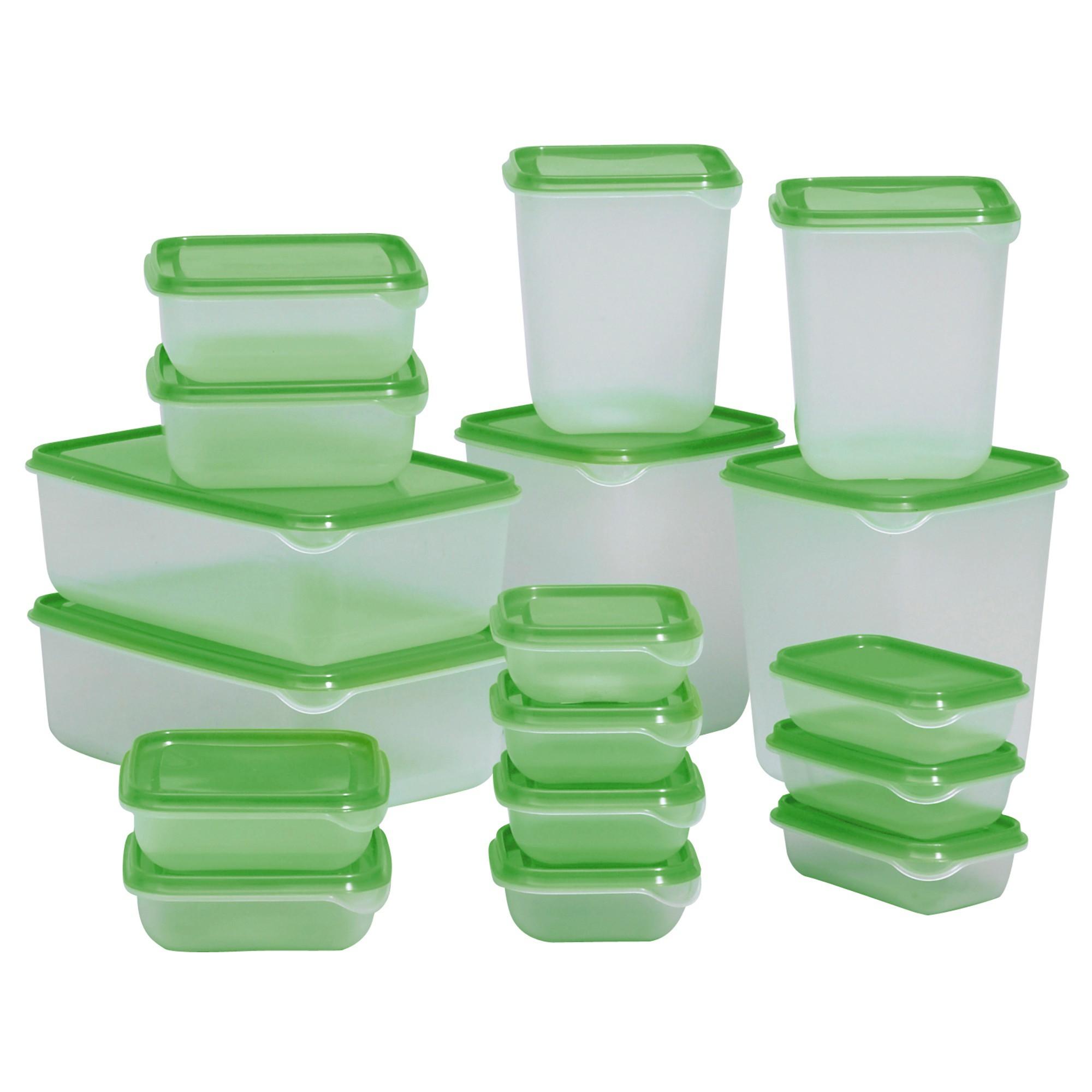 nádoby na potraviny 17 ks priehľadné zelené megamix.sk