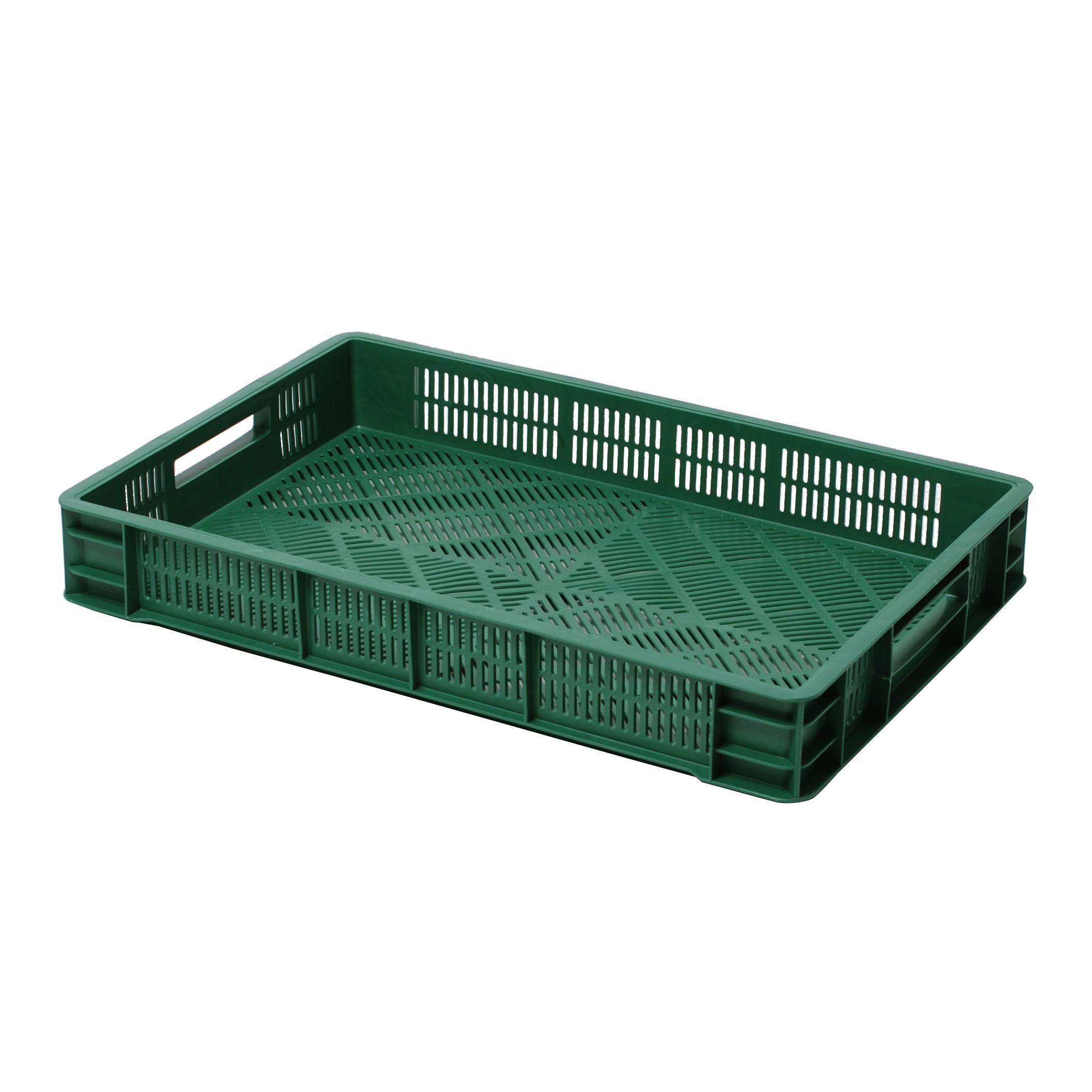 nízka prepravka plastová nádoba na ovocie 600x400x90mm zelená perforovaná megamix.sk
