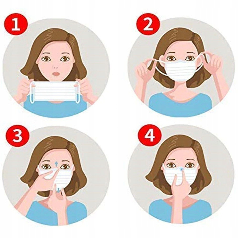 ochranné rúška na tvár rúško maska 50ks 3 vrstvové biele megamix.sk