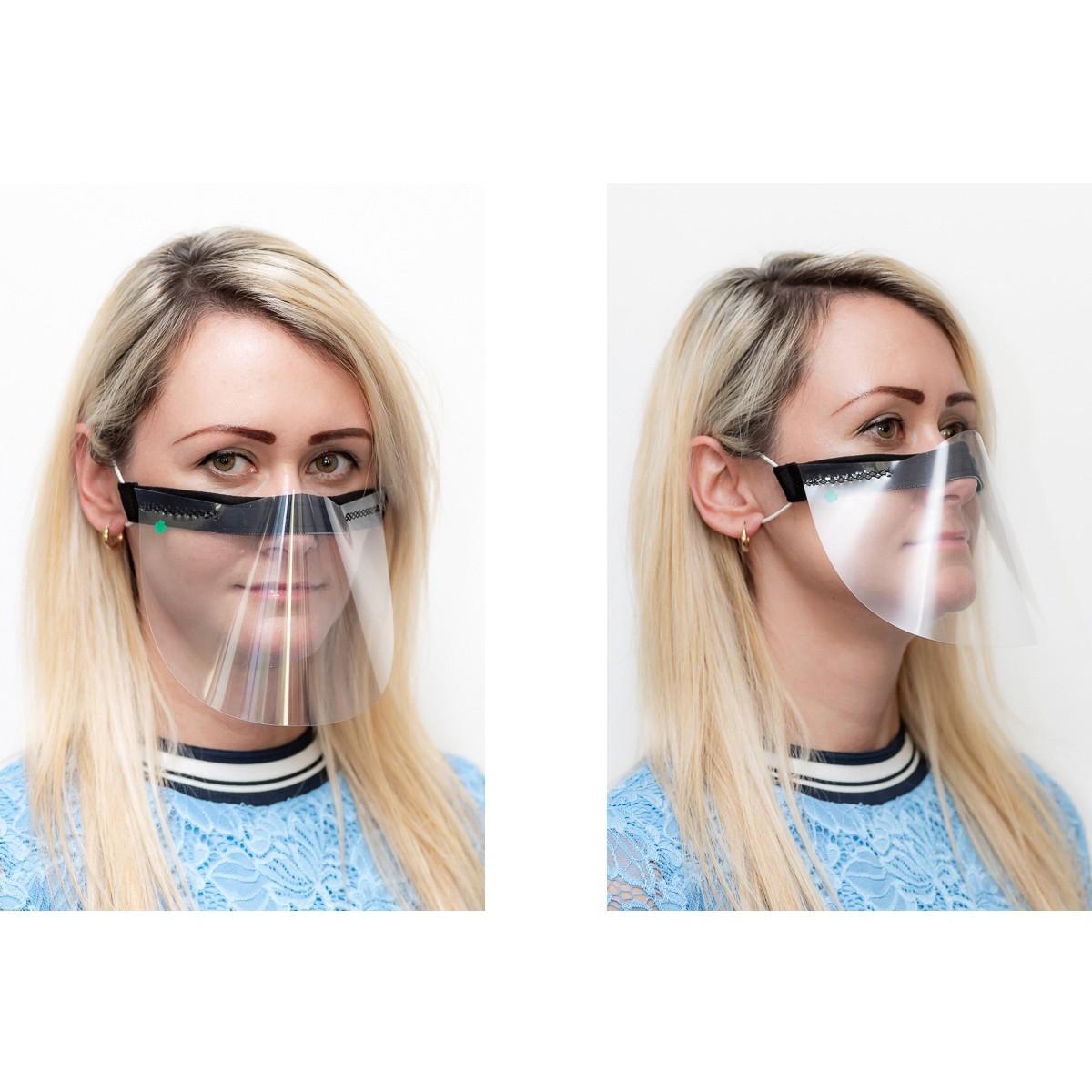 ochranný kryt na tvár priehľadná maska čierna nos ústa 21x12cm univerzálna megamix.sk