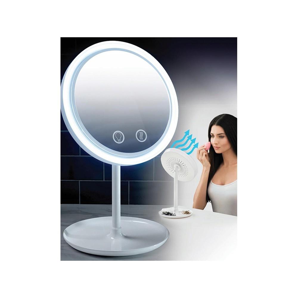 Osvetlené LED zrkadlo 5x 7,5cm s ventilátorom megamix.sk