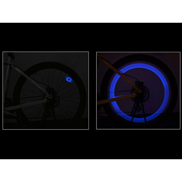 Osvetlenie LED na kolesá bicykla modré 13x4cm megamix.sk