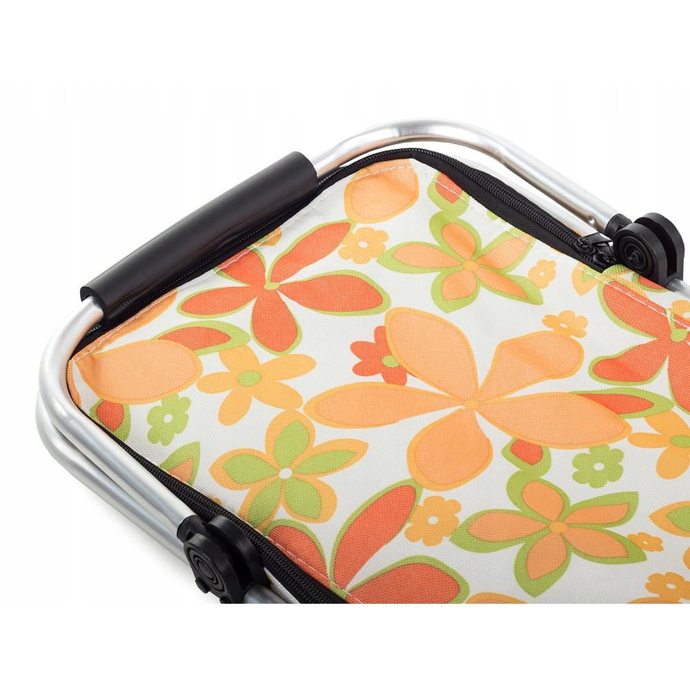 Piknikový kôš termálna taška 48x28cm biela s kvetmi megamix.sk
