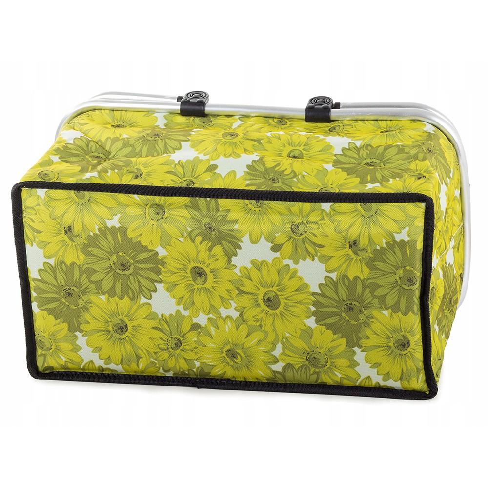Piknikový kôš termálna taška 48x28cm zelená s kvetmi megamix.sk