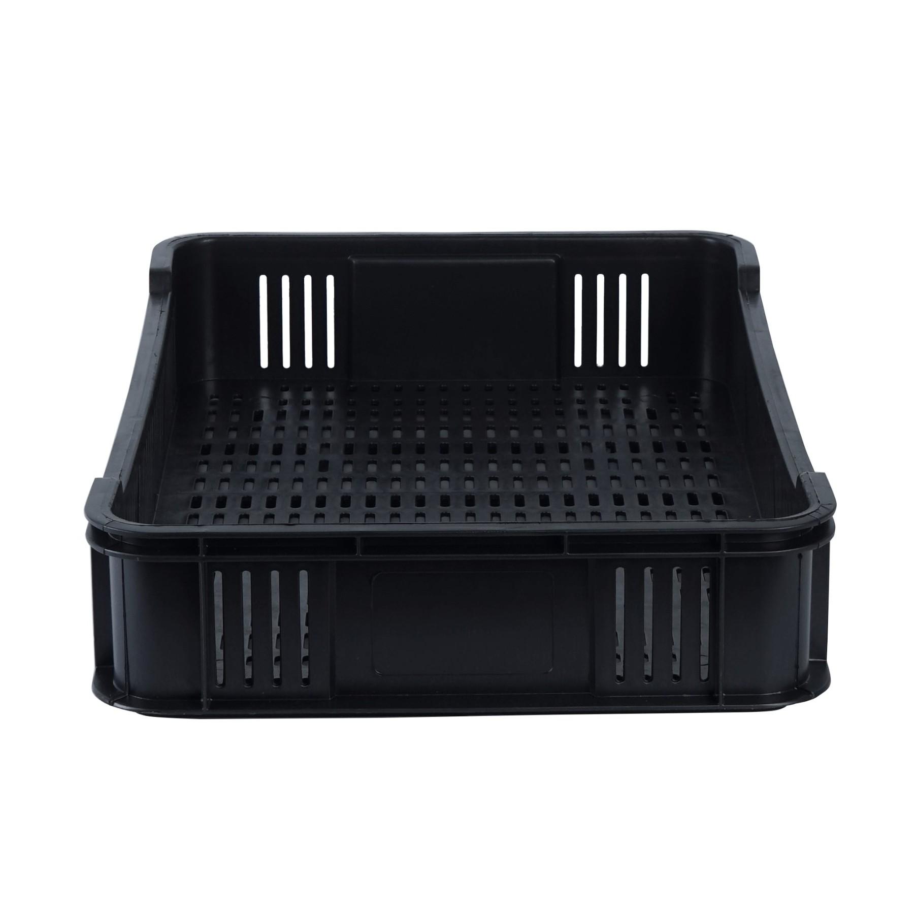 plastová nádoba nízka prepravka na ovocie 600x400x100mm čierna perforovaná megamix.sk