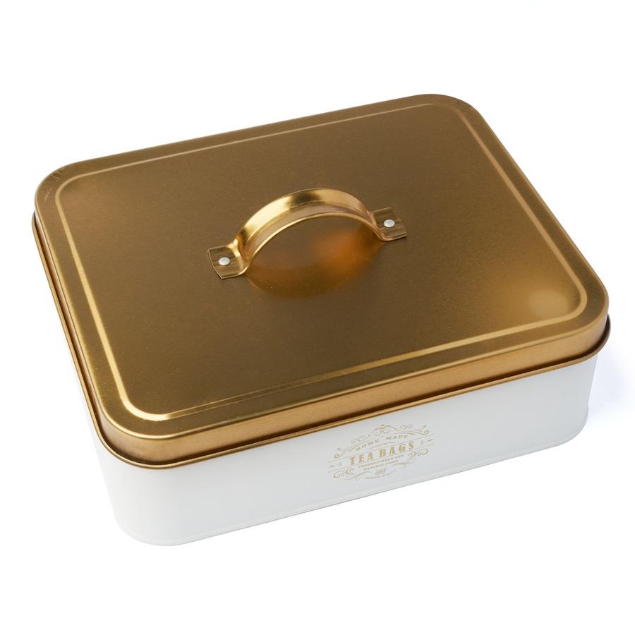 Plechová krabica s priehradkami na čaj Molise 25,5 x 20,5 x 8,5 cm 12 priehradiek biela