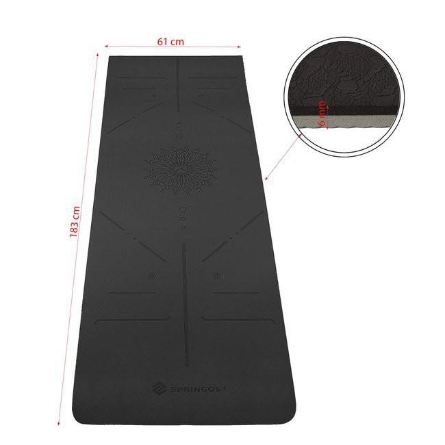 podložka na cvičenie joga fitness 183x61cm 6mm čierna sivá megamix.sk