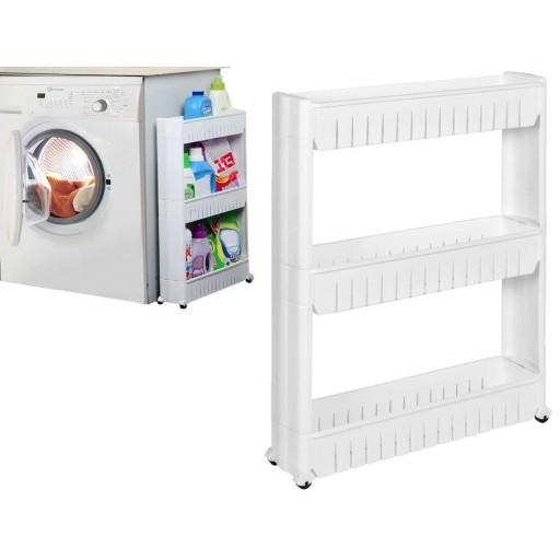 Regál do kúpelne na kolieskach úzky mobilný biely megamix.sk