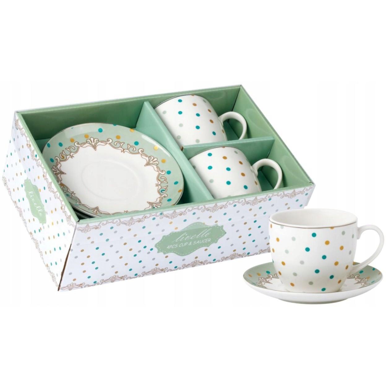 šálky na kávu čaj s tanierikmi 2ks 250ml bodkované megamix.sk