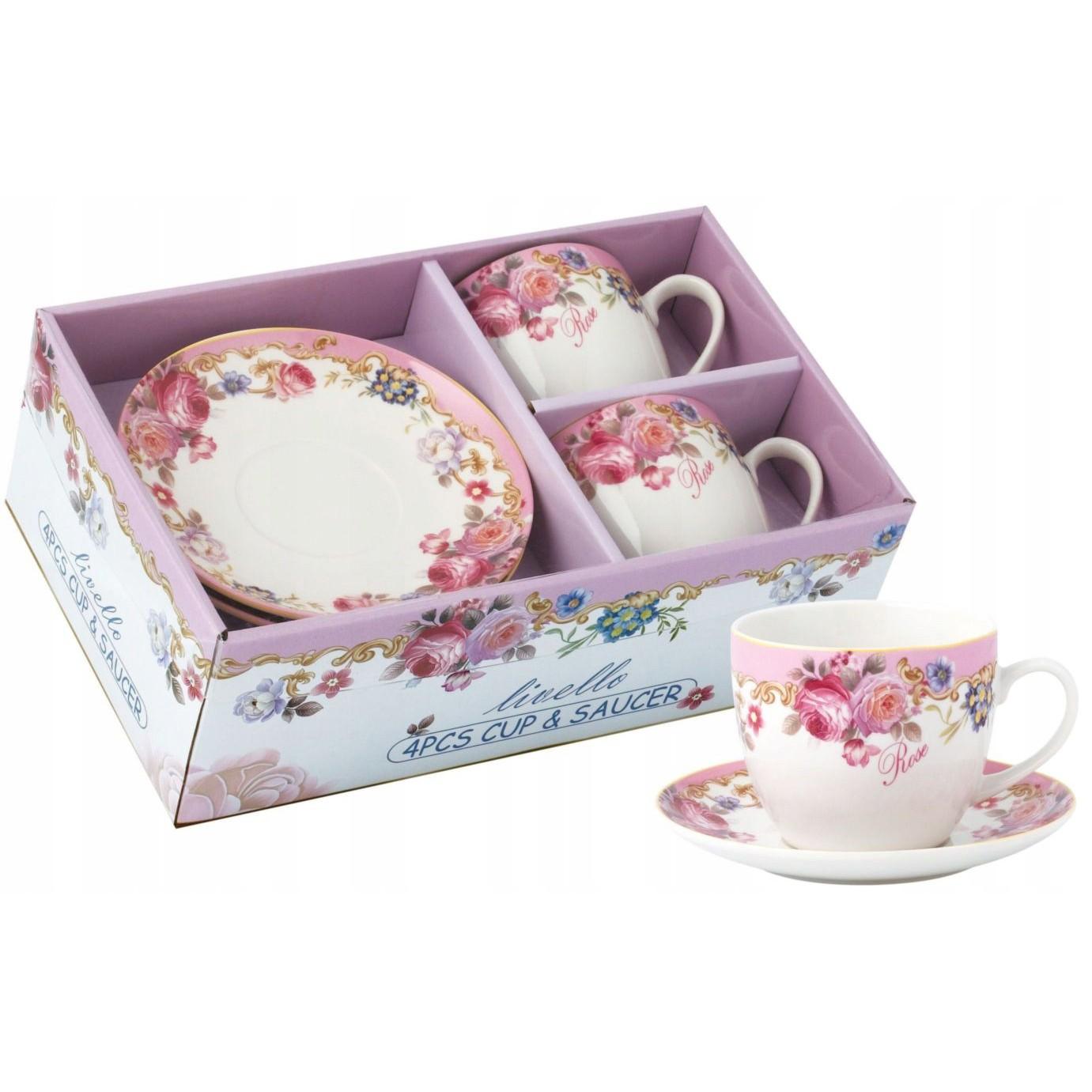 šálky na kávu čaj s tanierikmi 2ks 250ml kvety ružové megamix.sk