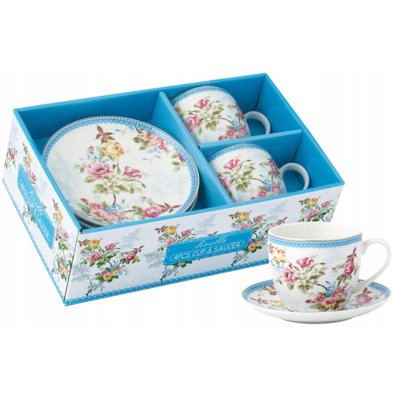 šálky na kávu čaj s tanierikmi 2ks 250ml kvety záhrada megamix.sk