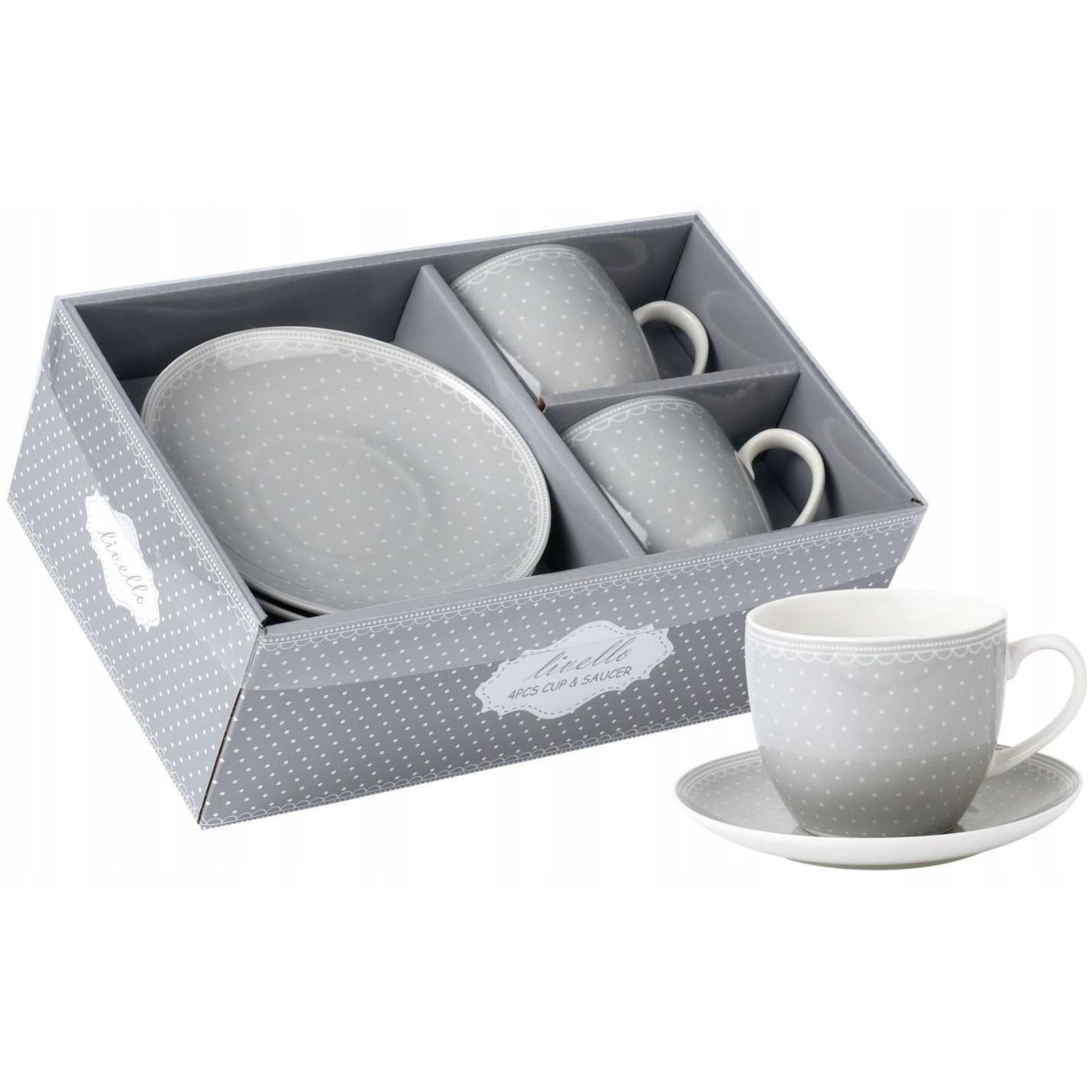šálky na kávu čaj s tanierikmi 2ks 250ml polka sivá megamix.sk