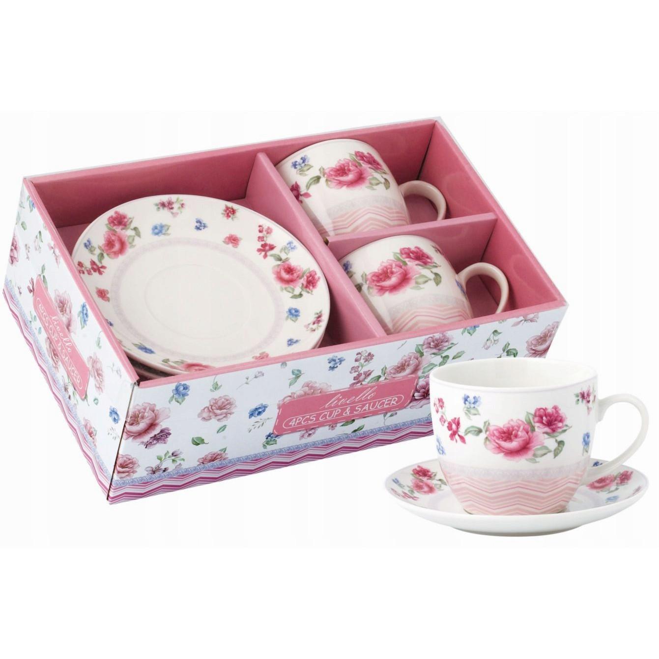 šálky na kávu čaj s tanierikmi 2ks 250ml vzor 44 megamix.sk