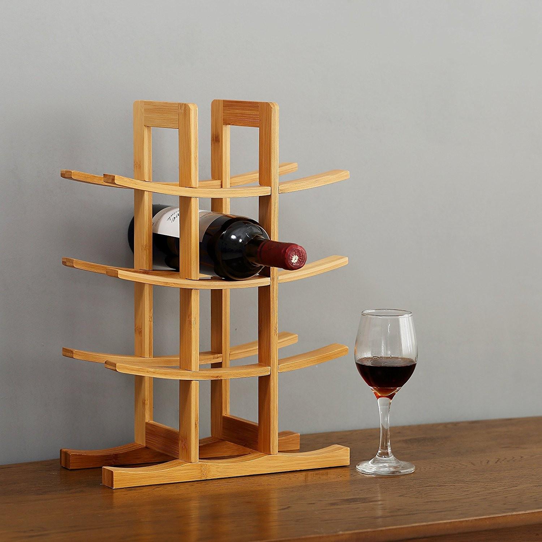 stojan na víno na 12 fliaš 42x30x16cm prírodný bambus megamix.sk