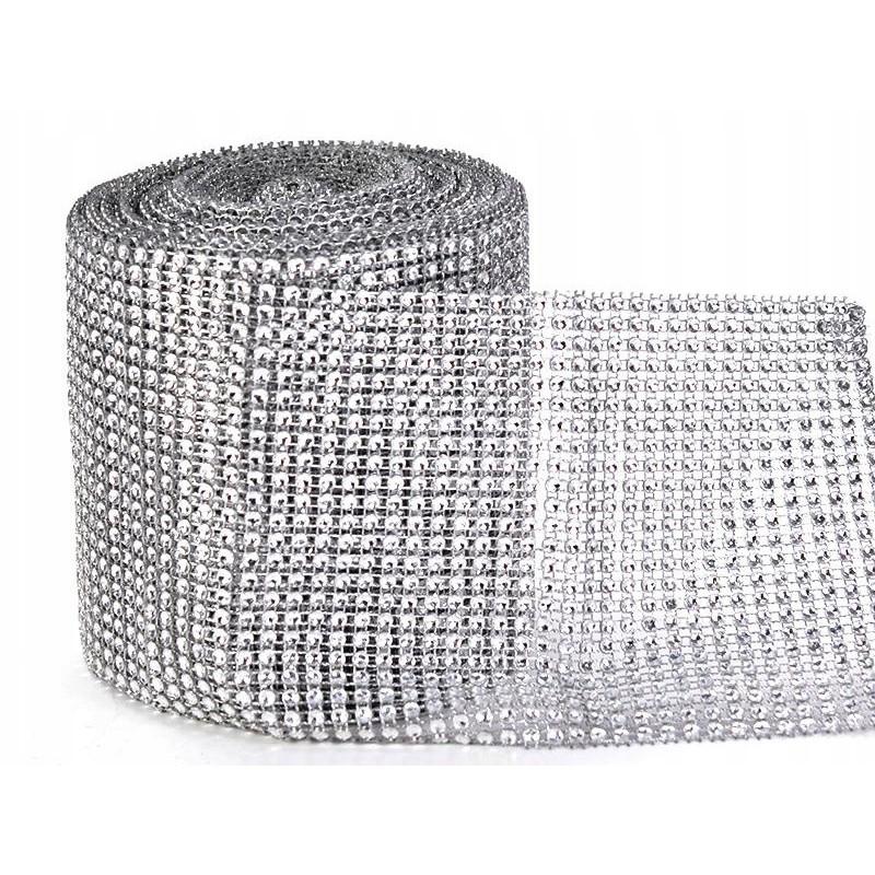 strieborný ozdobný diamantový pás 12cm 9m megamix.sk