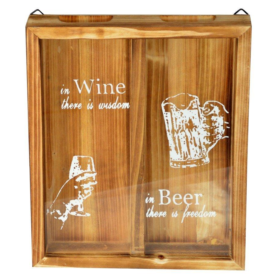 Štýlová drevená krabica na uzávery fliaš z vína a piva 28 x 36 x 4,5 cm