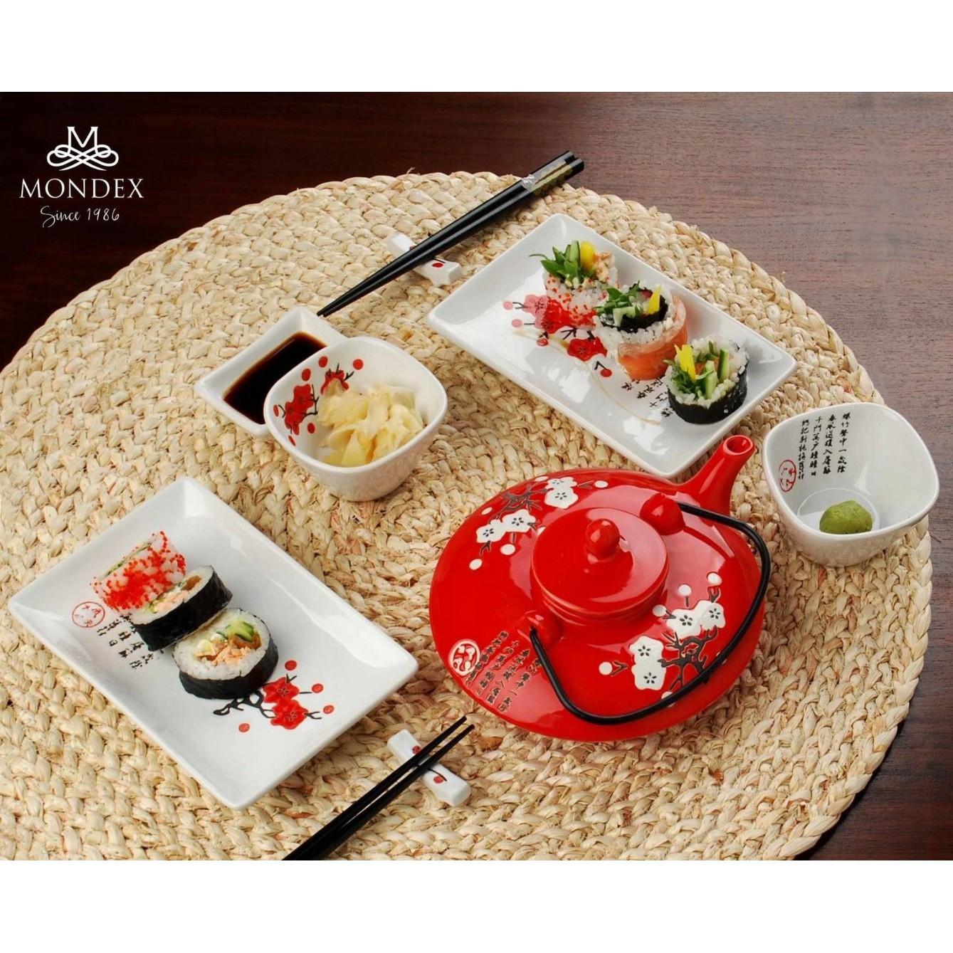 Sushi keramických zdobená sada 10 prvkov biela megamix.sk