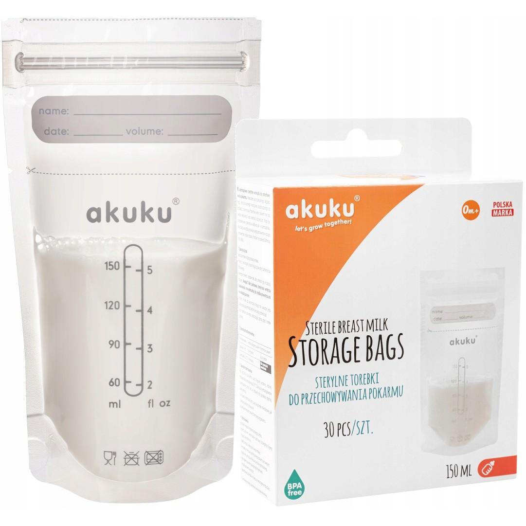 Tašky na skladovanie potravín 150ml 30ks sterilné vrecká AKUKU megamix.sk