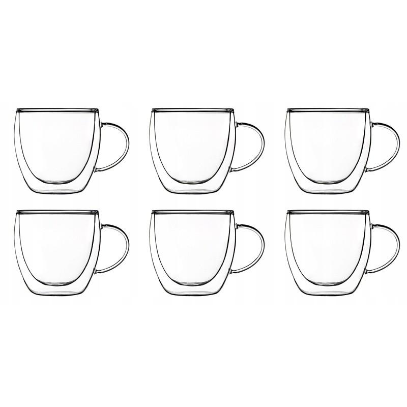 termo poháre s dvojitým sklom a uškom 6ks 250ml megamix.sk