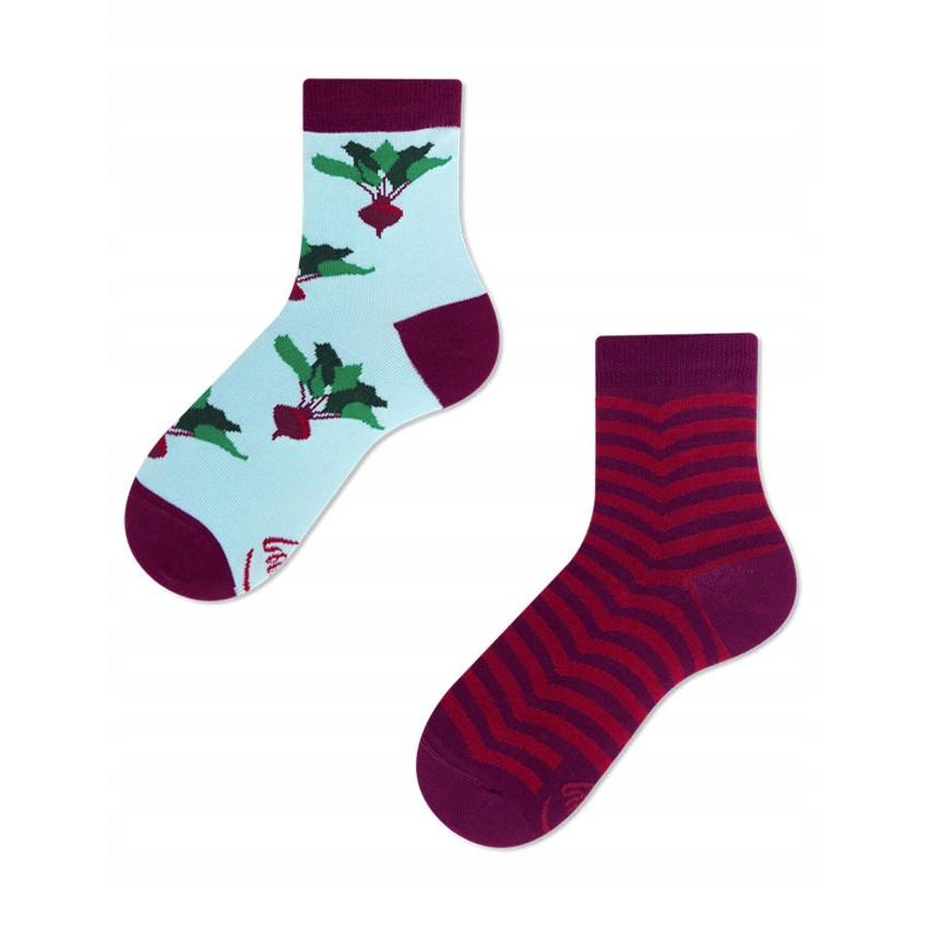Veselé ponožky detské BEETROOT repa 27-30 farebné megamix.sk