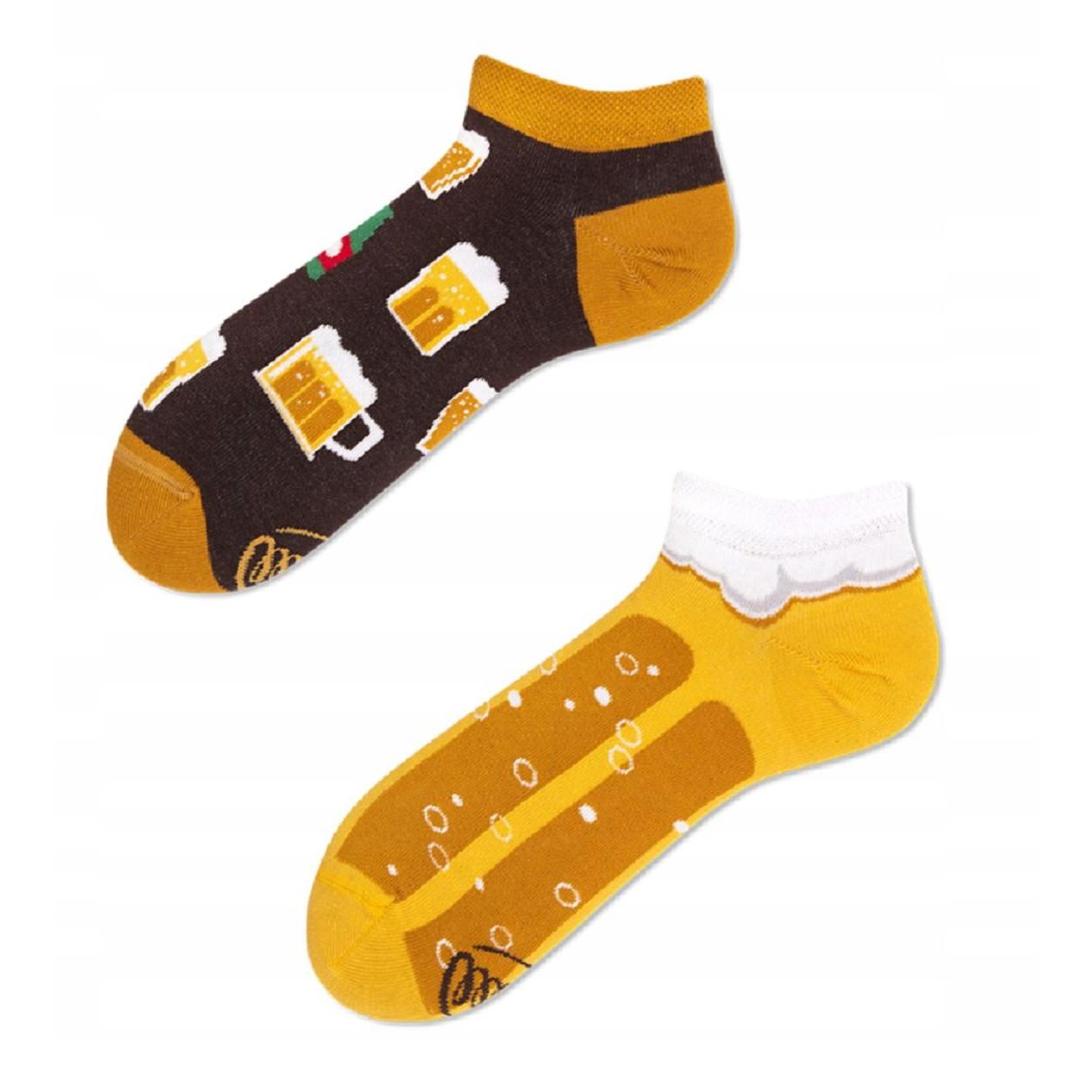 veselé ponožky CRAFT BEER LOW pivo krčah pena 39-42 nízke farebné megamix.sk